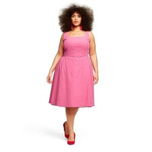 Isaac Mizrahi Pink A-line Dress with lace peakout